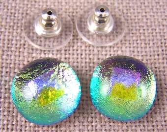 """Dichroic Earrings - Neon Golden Yellow with Magenta Pink Opal Accent Dot - Moonstone Glow 1/2"""" 12mm -  - Post or Clip-On"""