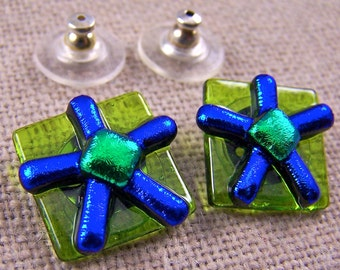 "Dichroic Earrings FLOWERs Fused Glass Post or Clip-on - Cobalt Blue Flower & Lime Green - 5/8"" 16mm"