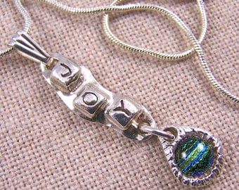 JOY Pendant in Teal Green Blue Striped Dichroic - 99.9% Fine Silver PMC Precious Metal Clay & Fused Glass