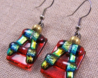 Dichroic Glass Earrings -  Chunky Scarlet Red and Gold Golden Yellow Fused Glass - Dangle or Clip-On