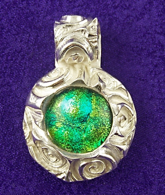 Dichroic & Fine Silver PMC Pendant - Yellow Green Bubbles Fused Glass Chunky Round Spirals