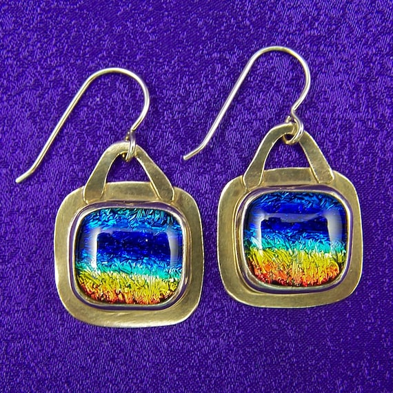 "Rainbow Dichroic Glass & Sterling Silver Dangle Earrings - Tie Dye Rainbow Copper Orange Blue Fused Glass Cabochon in Silver - 5/8"" - 16mm"