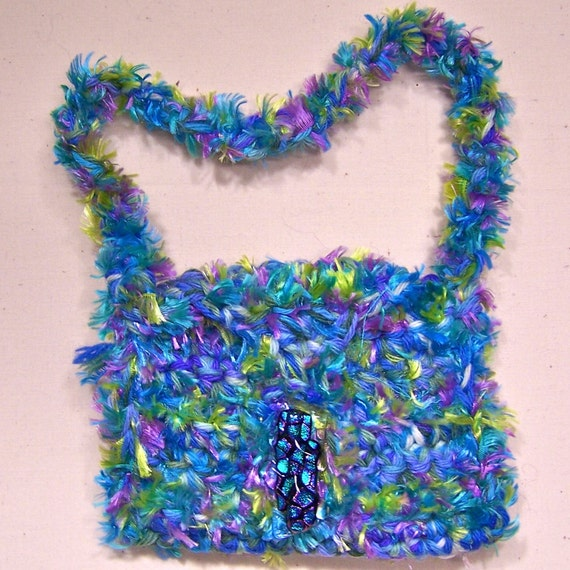 Small Crocheted Purse - Blue Green Yellow Pink Purple Fuzzy Novelty Yarn - Dichroic Glass Clasp