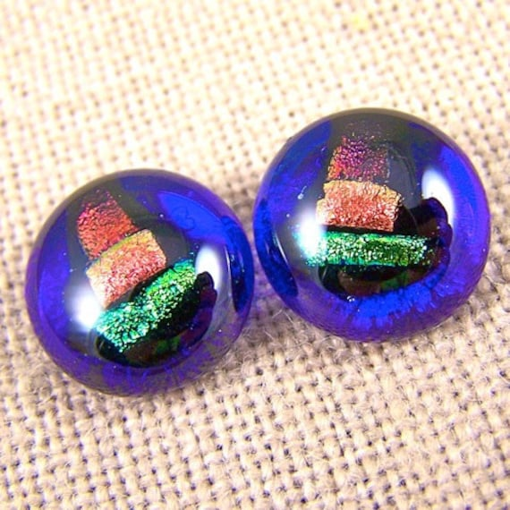"Cobalt Dichroic Earrings / Copper Gold Green Fused Glass Inclusion  - 1/2"" - Bright"