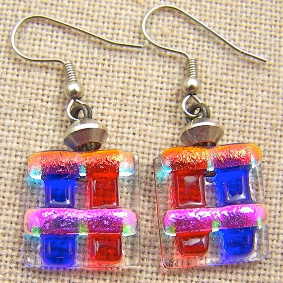 Dichroic Earrings Ruby Red Sapphire Blue - Orange Pink Rock Candy Dangle Surgical Steel French Wire or Clip On - Fused Glass - 3/4""