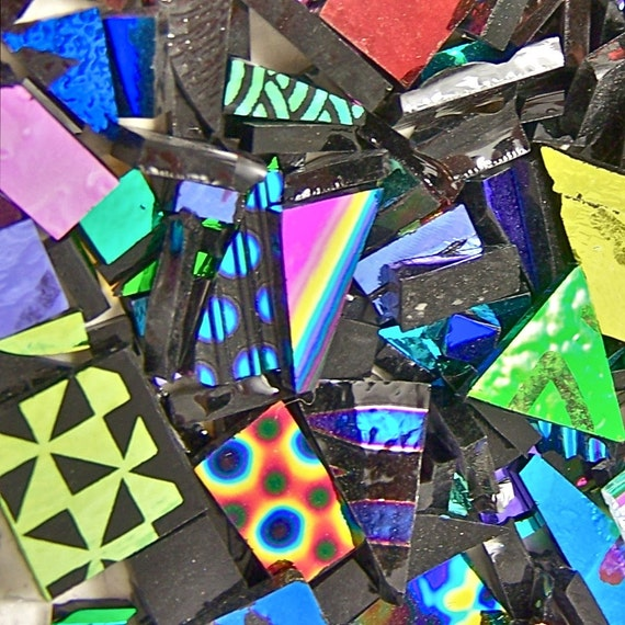 Dichroic Glass Scrap - 2 Ounce - 90 COE - Mixed Color Shape Pattern Textures - Mosaic