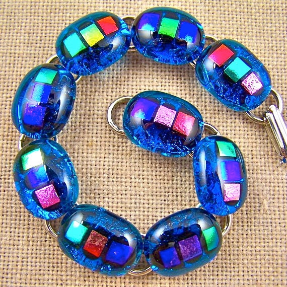 """Dichroic Bracelet Turquoise Gemstone Links - Bright Colorful Fused Glass - 1/2"""" 12-15mm Nuggets"""