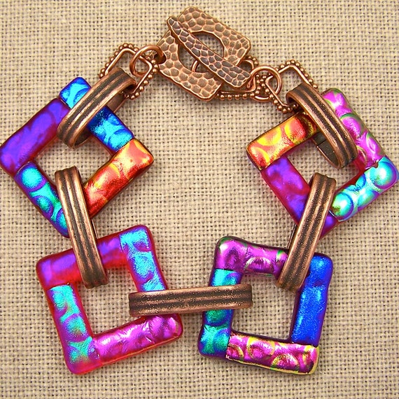 "Dichroic Bracelet Red - Copper Hammered Toggle - Linked Square - Big 1"" Fused Glass Links - Blue Pink Orange Green Accents"