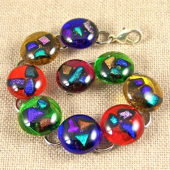 "Dichroic Bracelet - Colorful Shards Fused Inside Stained Glass - 5/8"" - Multicolored"