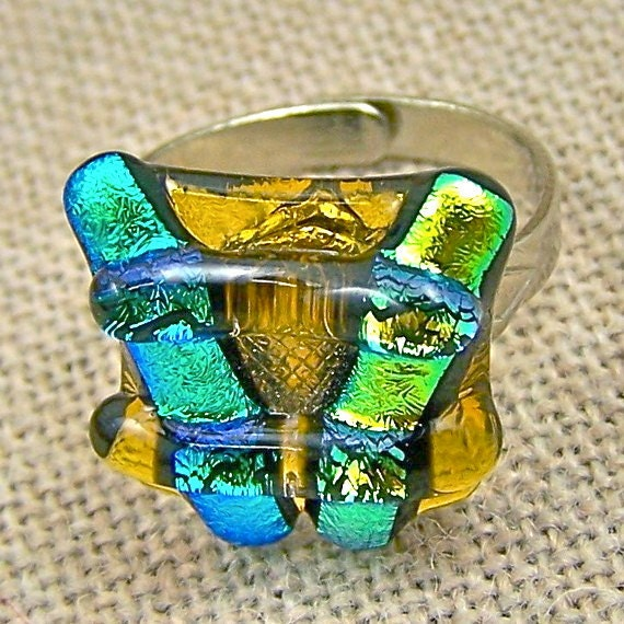 """Dichroic Adjustable Ring - Green Gold Amber Chunky Pagoda 5/8"""" Fused Glass"""