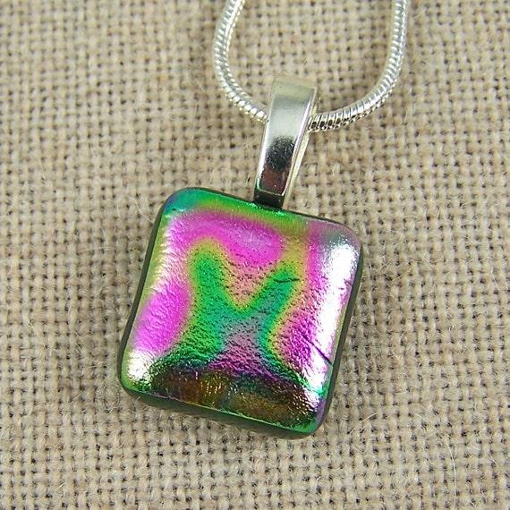"Dichroic Glass Pendant - Magenta Green Tie Dye Aurora Borealis Spiral Swirl - 3/4"""