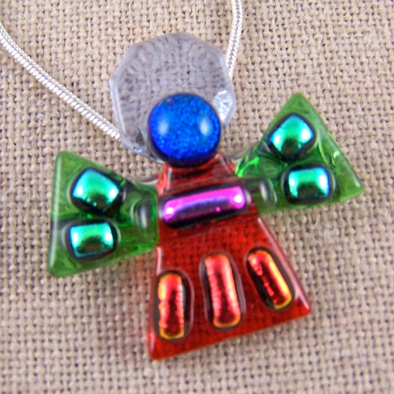 Angel Dichroic Pendant AND Pin - Red Green Violet Halo Pink Blue & Orange Accents in Fused Glass