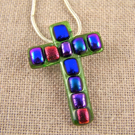 Mosaic Dichroic Cross Pendant & Brooch Pin - Rainbow Squares on Green Spring Lime Fused Cathedral Glass