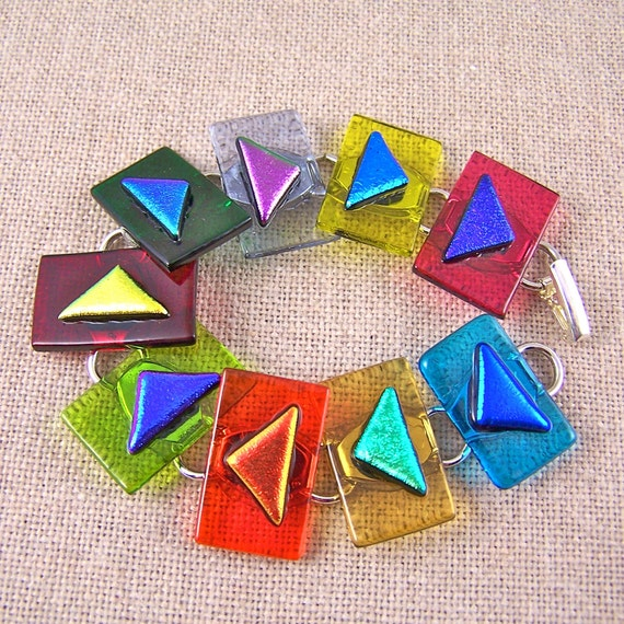 Dichroic Link Bracelet - BIG TRIANGLES Fused Glass - Rainbow Red Blue Gold Green Pink - Cathedral Window Glass