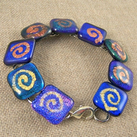 "Dichroic Link Bracelet - Bright Blue Green Purple Spiral Coil Patterns of Mica in Fused Glass - 3/4"" 2cm Cobalt Violet Teal Emerald"