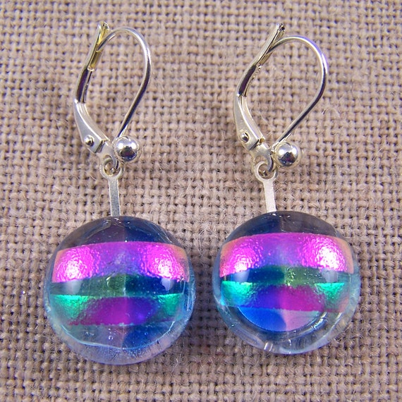 """Dichroic Earrings Eurowire Opal Pink Lavender Blue Rock Drop Lever Back - 5/8"""" - Stained Glass Fused"""