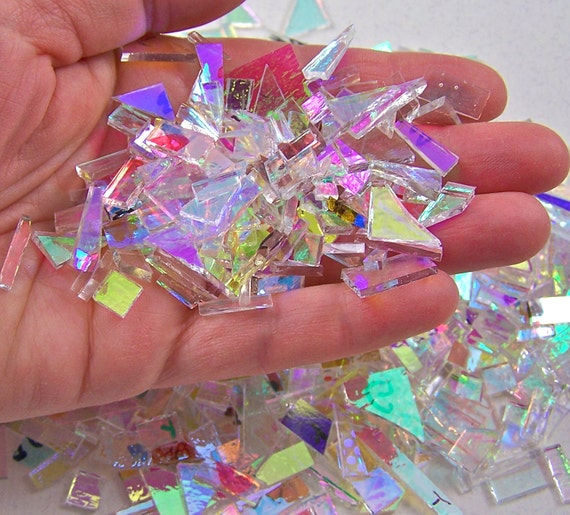 Dichroic Glass Scrap - 2 Ounce - 90 COE - ALL CLeAR Mixed Color Shape & ALL SMooTH - for Mosaic or Fusing