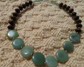 Adventurine and Wood Beaded Necklace