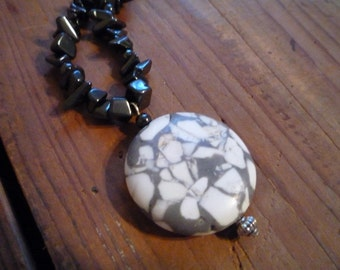 White Turquoise and Hematite Necklace