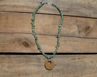 Adventurine Necklace with Wooden Pendant