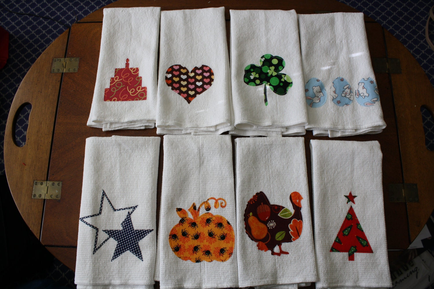 Set Of 8 Holiday Kitchen Towels Birthday Valentines St