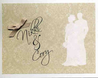 Silhouette Wedding Congratulations Card - Personalized with Names