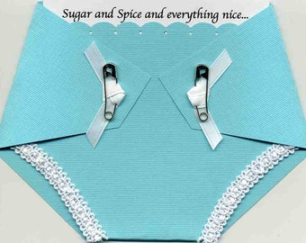 Baby Girl Shower Invitation Turquoise Diaper Shaped - Tiffany Co. Inspired