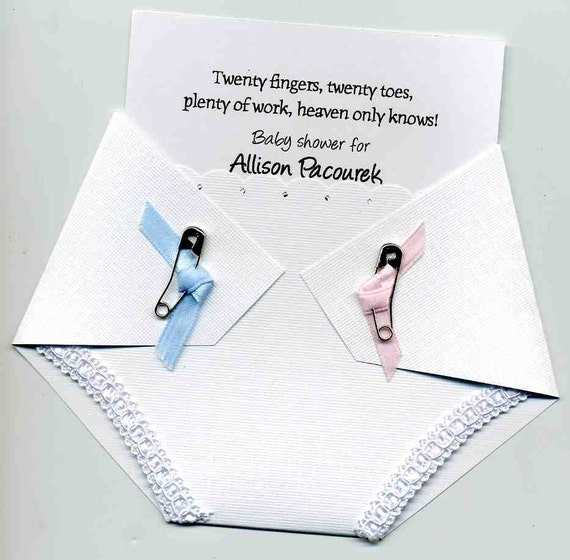Twin Baby Shower Invitation Diaper Shaped Twin Or Gender