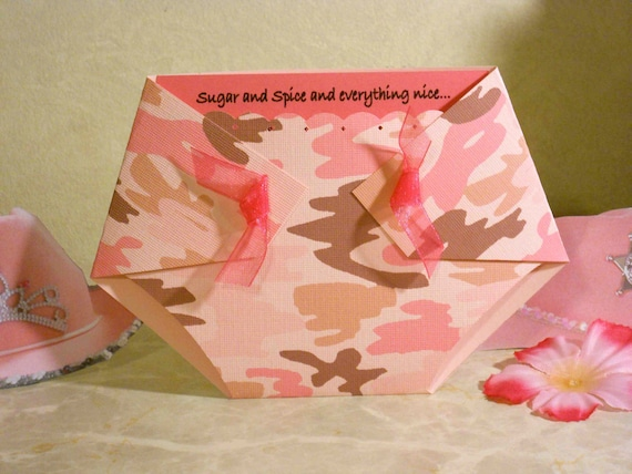 Pink camo diaper shaped baby shower invitations for Pink camo decorations