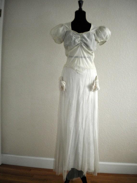 1930s White Tulle Dress