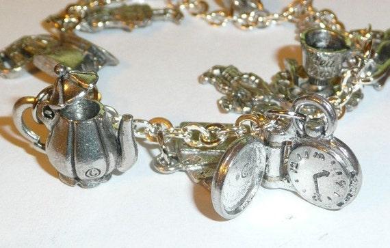 Alice In Wonderland Charm Bracelet (Silver Tone)