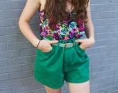 Bright Summer High Waist Vintage Shorts in Green