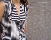 Urban Vintage - - Black & White Striped Button Up Blouse with Oversize Collar