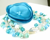 Corsage Flower Bracelet Crystal Pearls and Satin Poppy in Teal