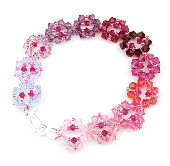 SALE Purple and Pink Crystal Woven Bracelet