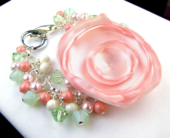 RESERVED for jamiehunsaker1 Corsage Bracelet Satin Flower Poppy and Crystal in Pink and Mint Green