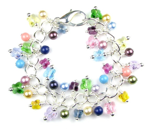Butterfly Crystal Pearl Bracelet Rainbow Colors