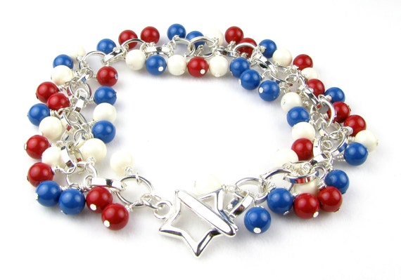 Patriotic Red White and Blue Crystal Pearl Bracelet Free Shipping