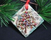 Holiday Sale was 6.00 Christmas Tree Ornament - Beeswax encaustic art for the Holiday