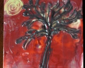 """Encaustic Beeswax Original Painting """"One Tree in the Night"""""""