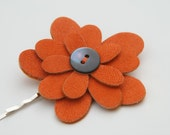 Suede Hair Clip, Flower Burnt Orange Rust Fall Button