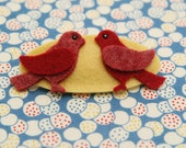 Bird Hair Clip, Cardinal, Wool Felt, Red, Fall Harvest, Autumn, Snap Clip, Yellow