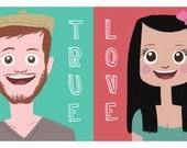 Custom Couple Portrait Pop Art illustration personal gift