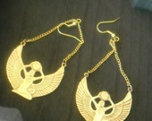 Brass Isis Egyptian Goddess Earrings
