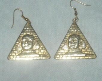 Brass Pyramid Earrings