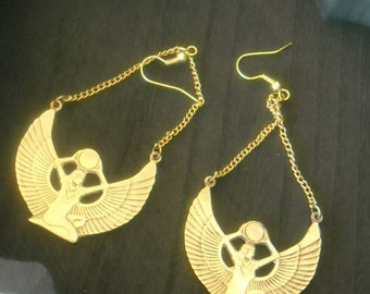 Brass Isis Egyptian Goddess Earrings