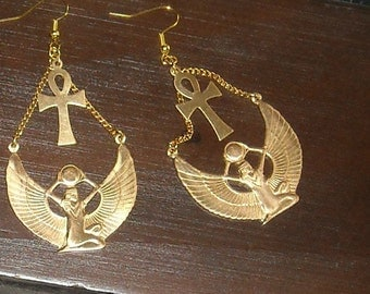 Brass Isis Egyptian Goddess Earrings with  Ankh