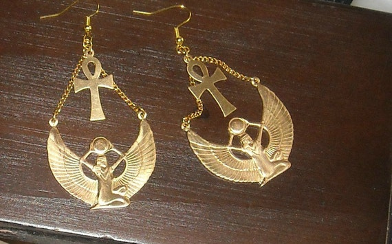 Isis Egyptian Goddess Earrings with  Ankh in Silver or Brass