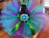 Peacock tutu with matching headband- CUSTOM ORDERS WELCOME sizes 0-5t