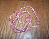 Red and White Plastic Bead Necklace, Vintage